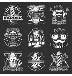 Barber hipster emblem set vector