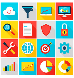 Big data analytics colorful icons vector