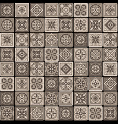 Brown portuguese ceramic mosaic tile floral vector