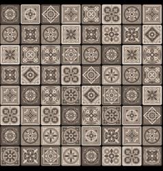 brown portuguese ceramic mosaic tile floral vector image