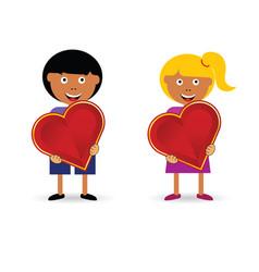 children holding heart vector image
