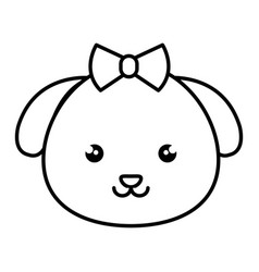 Cute and tender female dog kawaii style vector