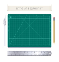 Cutting mat and equipment set vector
