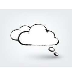 design element Hand drawn cloud on white vector image vector image