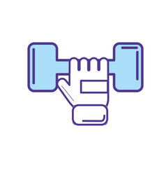 Dumbel with glove to do exercise vector