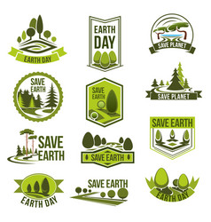 earth day save planet eco badge set vector image vector image