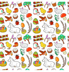 easter seamless pattern with traditional eggs vector image