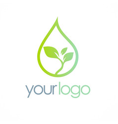 eco water drop organic logo vector image