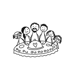 family together have a dinner sketch for your vector image