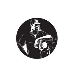 Film crew lighting fresnel spotlight circle vector
