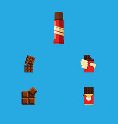 Flat icon cacao set of chocolate bar cocoa sweet vector