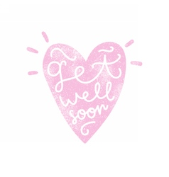 Get well soon Heart silhouette with calligraphy vector image vector image