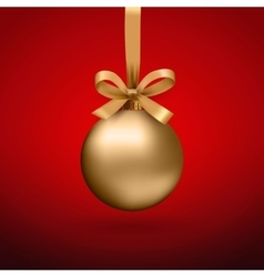 Gold Christmas ball with ribbon and a bow vector image vector image