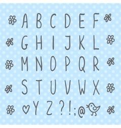 Hand drawn thin font vector