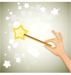 Hand holding magic wand eps10 vector image