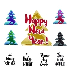 Happy new year typography and trees set vector