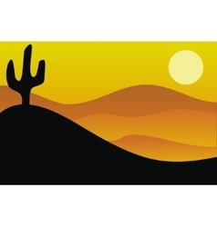 image of desert and cactus vector image