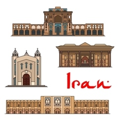 Iran famous architecture icons vector