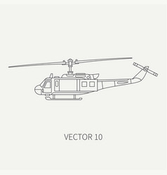 Line flat icon military turboprop vector