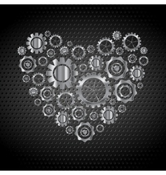 Love heart from tech metallic gears vector