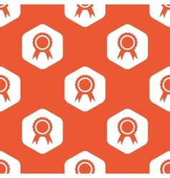 Orange hexagon certificate seal pattern vector