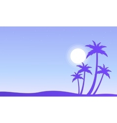 Palm and sun silhouettes scenery vector