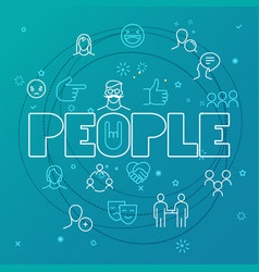 people concept different thin line icons included vector image