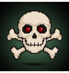 Pixel skull and crossbones vector image