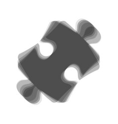 Puzzle piece sign gray icon shaked at vector