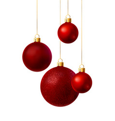 Red christmas balls vector