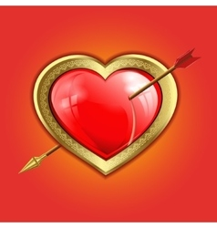 red heart with a gold border is punched with an vector image vector image