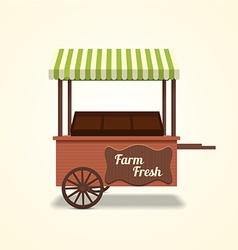 Retro farm fresh cart on beige background vector