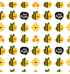 seamless pattern with cartoon bees and beehive for vector image