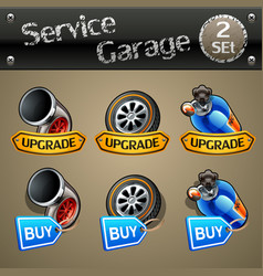 Upgrade and buy parts icons for race game-set 2 vector
