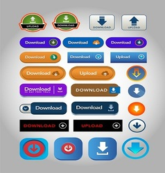 Upload and download icons buttons vector