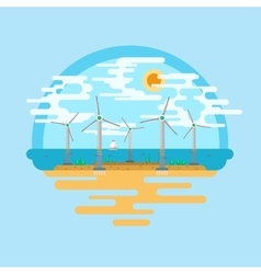 Wind generators sea flat vector