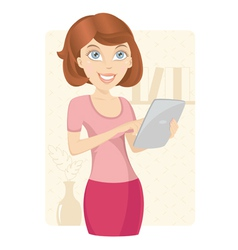 Business woman with tablet computer vector
