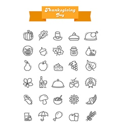 Thanksgiving day outline icons set harvest vector