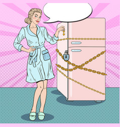 Pop art woman on diet with fridge chain vector