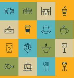 Set of 16 restaurant icons includes soda drink vector