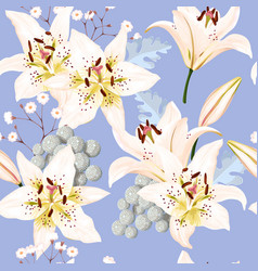 Seamless pattern with white lilies vector
