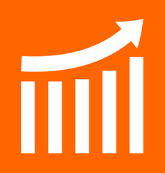 Growing graph white icon vector