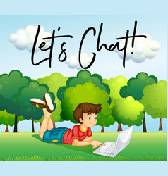 Boy using internet in the park vector