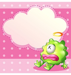 A sick green monster in front of the empty cloud vector