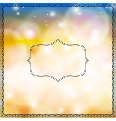 Card with decorative frames on bokeh lights vector