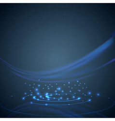 Swoosh wave over dark blue hi-tech background vector