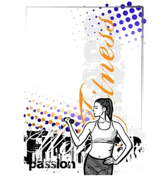 Fitness woman color poster background vector