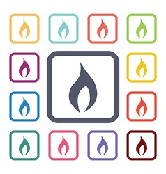 Fire flat icons set vector