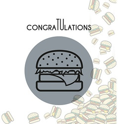 Background with falling burgers and overlay colors vector