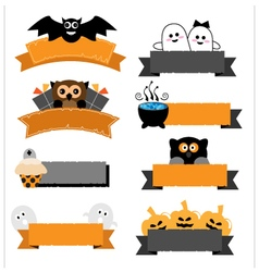 Halloween ribbon collection vector